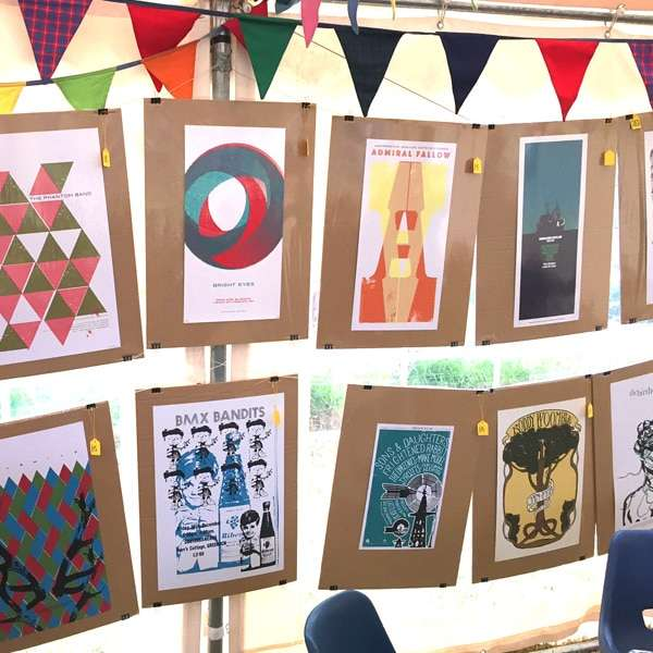 Gig poster show at the Iona Village Hall Music Festival